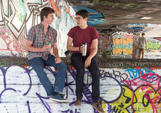 Two Guys Coffee Chat Guys Coffee Chat Stock Images