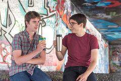 Two Guys Coffee Chat Guys Coffee Chat Stock Image