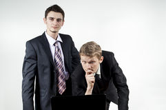 Two guys collaborating to laptop Stock Photography