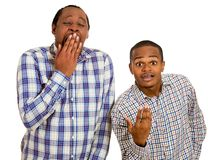 Two guys, excited, optimistic and bored, annoyed. Bipolar world Stock Image