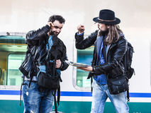 Two guys are fighting because they are lost in a foreign country. Royalty Free Stock Images