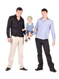 Two guys hold little boy Stock Photography
