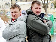 Two guys in jackets Royalty Free Stock Photography