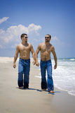 Two guys in jeans on vacation Stock Images