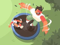 Two guys jumping on trampoline. Fun entertainment and recreation. Vector illustration stock illustration