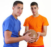 Two guys with a medicene ball Stock Images