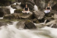 Two guys meditating Stock Image