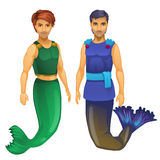 Two guys mermaid in a green and blue costume Stock Photos