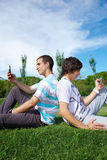 Two guys in a park Royalty Free Stock Photos