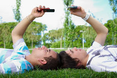 Two guys in the park Stock Photography