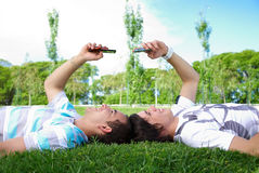 Two guys in the park Royalty Free Stock Image