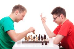 Two guys playing chess Royalty Free Stock Photography