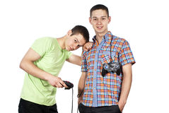 Two guys are playing computer games Royalty Free Stock Image