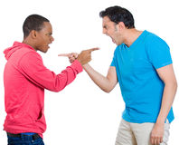 Two guys pointing and blaming Stock Photo