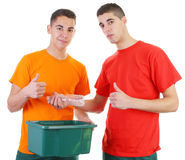 Two guys recycling Stock Photography