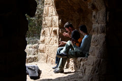 Two guys singing at park Guell Royalty Free Stock Photo