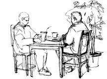 The two guys at the table drinking a cocktail. Vector sketch of the two guys at the table drinking a cocktail Stock Photography