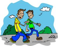 Two guys walking down the road and talking Royalty Free Stock Photography