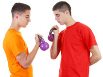 Two guys with weights Stock Image