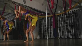 Two gymnasts doing a trick, a rack.  stock footage