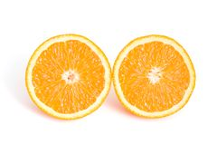 Two half. Orange on white with shadow Royalty Free Stock Photography