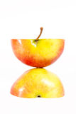 Two half apple isolated on white background. Pic Stock Images