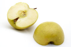 Two half apples. On white background royalty free stock images