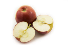 Two half apples sliced on white background Royalty Free Stock Photo