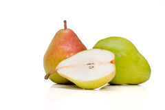 Two and half Belgian pears Stock Photos