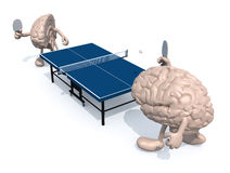 Two half brains with arms and legs that playing to table tennis Royalty Free Stock Photo