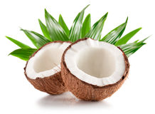Two half of coconuts isolated on the white background Stock Photos
