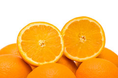 Two half cut oranges Royalty Free Stock Photo