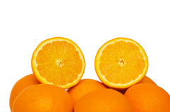 Two half cut oranges isolated. On white Stock Photos