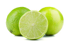 Two and half fresh juicy limes Stock Images