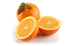 Two Half Orange and Orange. Two half of orange on white background royalty free stock photography