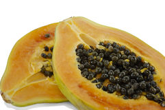 Two half of papaya Stock Photo