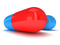 Two Half red half blue pill capsule. 3D royalty free illustration