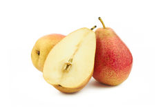 Two and half red pears Stock Photos