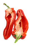 Two half of sliced red pepper Royalty Free Stock Photos