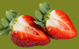 Two half of strawberry. Stock Image