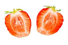 Two half of strawberry isolated on a white background Stock Photo