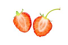 Two half of strawberry isolated on a white background Royalty Free Stock Photography