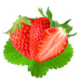 Two and half strawberry with leaf. Isolated strawberry. Two and half Strawberry with leaf isolated on white background as package design element royalty free stock image