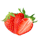 Two and half strawberry on white. Isolated fruits. Two and half Strawberry isolated on white background as package design element royalty free stock photos