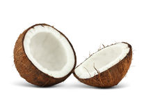 Two halfs of coconut on white Royalty Free Stock Image