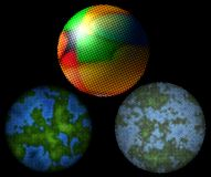 Halftone spheres. Two halftone earth spheres and one colourful sphere Stock Images