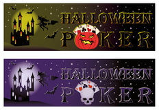 Two halloween poker banners. Vector illustration Stock Images