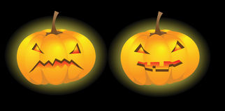 Two Halloween pumpkin lanterns. With various expressions, vector illustration Royalty Free Stock Images