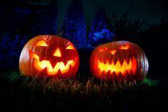 Two Halloween pumpkin in a mystical forest at night. Two Halloween pumpkin in a mystical forest at night Royalty Free Stock Photography