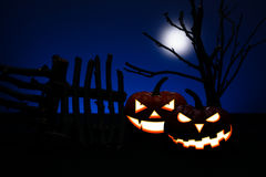 Two Halloween pumpkin with scary Stock Image